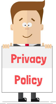 Man with sign 'Privacy Policy'
