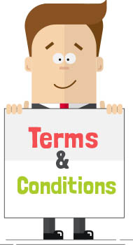 Man with sign 'Terms and conditions'